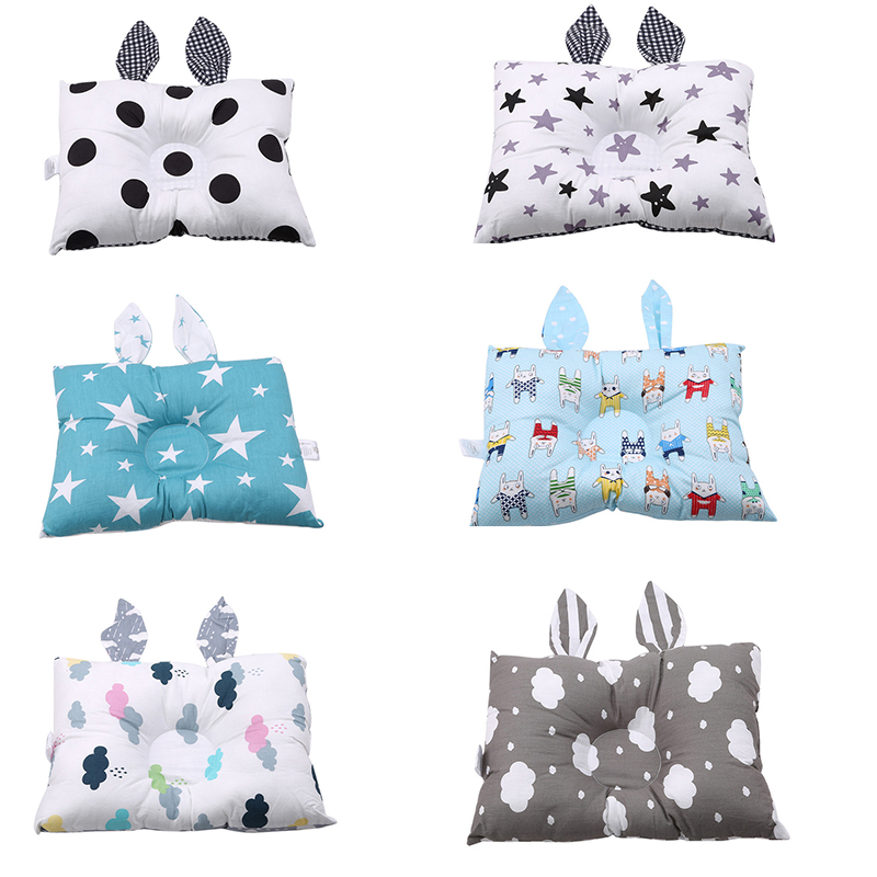 Cotton Cute Rabbit Ear Baby Pillow Prevent Flat Head Pillows Newborns Funny Baby Decorative Pillows Baby Soft Shaping Pillows