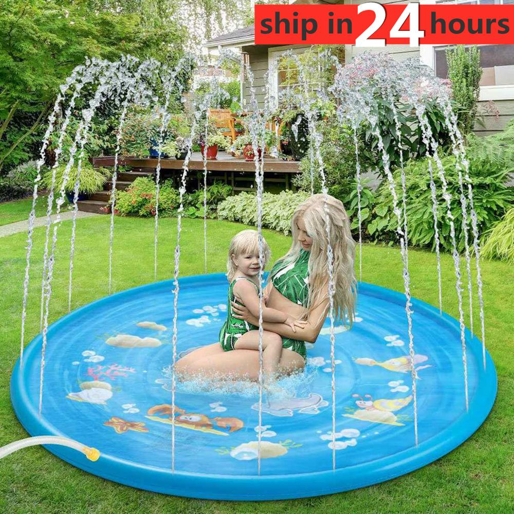 100cm Kids Inflatable Water Spray Pad Round Water Splash Play Pool Playing Sprinkler Mat Yard Outdoor Fun PVC Swimming Pools