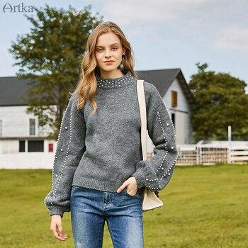 ARTKA 2019 Autumn Winter New Women Sweater Vintage Bead Lantern Sleeve Knitted Sweaters O-Neck Pullover Mohair Sweater YB15493Q lantern sleeve plain pullover sweater