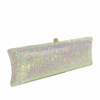 Boutique De FGG Elegant Silver AB Women Crystal Evening Purses and Handbags Hard Case Diamond Wedding Clutch Minaudiere Bag