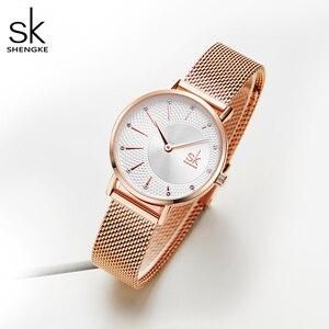 Image 2 - Shengke Quartz Horloge Vrouwen Mesh Rvs Horlogeband Casual Horloge Japan Beweging Bayan Kol Saati Reloj Mujer 2020