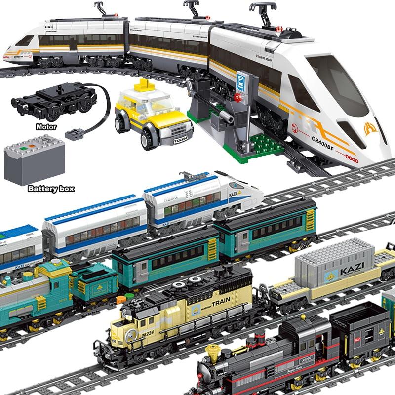 641 шт Technic Электрический поезд LegoINGlys с питанием от аккумулятора, высокоскоростные железные дороги, строительные блоки, кирпич, Подарочная иг...