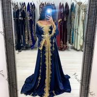Beautiful Kaftan Morrocan Evening Dresses Dark Blue Muslim Prom Dress With Gold Appliques Long Sleeve Taffeta Long Formal Gowns