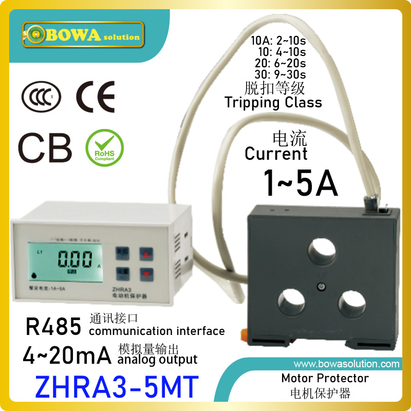 ZHRA3-5MT motor protector with RS485 Modbus interface & 4-20mA analog output let different electrical motors interactive
