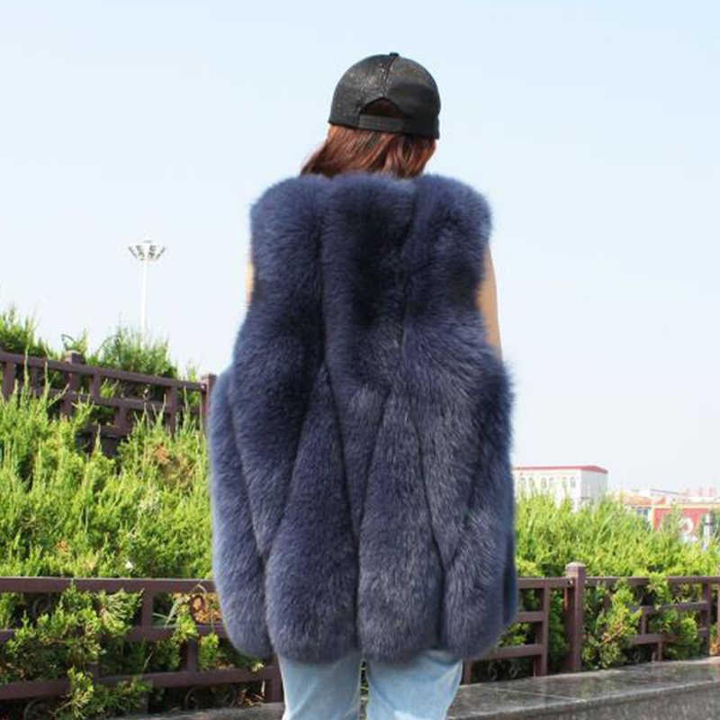 Herbst Winter Neue Fuchs Pelz Weste Für Frauen Beiläufige Elegante Braun Farbe Warme Echt Fox Pelz Ärmellose Weste Weibliche 2019