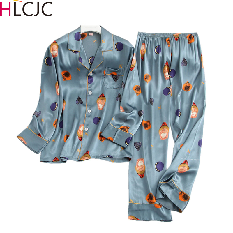 High-end Pajamas Men Satin Ice Silk Sleepwear Male Print Full Sleeve  2PCS Pajama Sets Men Autumn Nightwear Pyjama Pijama Hombre