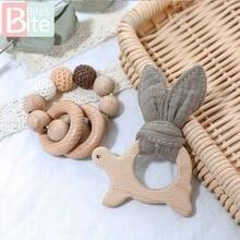 1Set Baby Wooden Teether Nursing Bracelets Beech Rodent Animal Pendant Cotton Bi