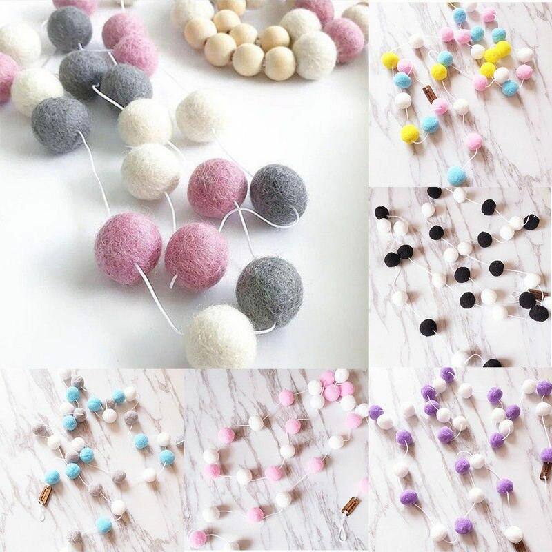 2M 30PCS Hängen Ball Bälle String Hause Dekoration Wolle Filz Ball Kinder Baby Mädchen Zimmer Wand Dekor Ornament pelz Ball Garland Partei