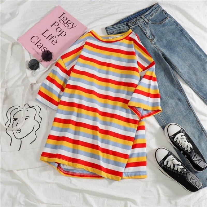 Hot Cotton Casual Sweet Stiped T-Shirt Camisetas New Spring Tops Summer Women T Shirts Female Short Sleeve Loose Koszulki Tees