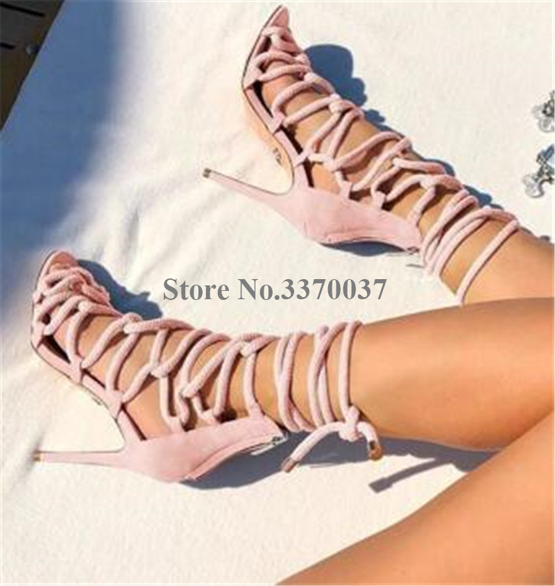 Ladies New Fashion Rope Design Strap Cross Gladiator Sandals Cut-out Thin Heel Braided High Heel Sandals Dress Shoes
