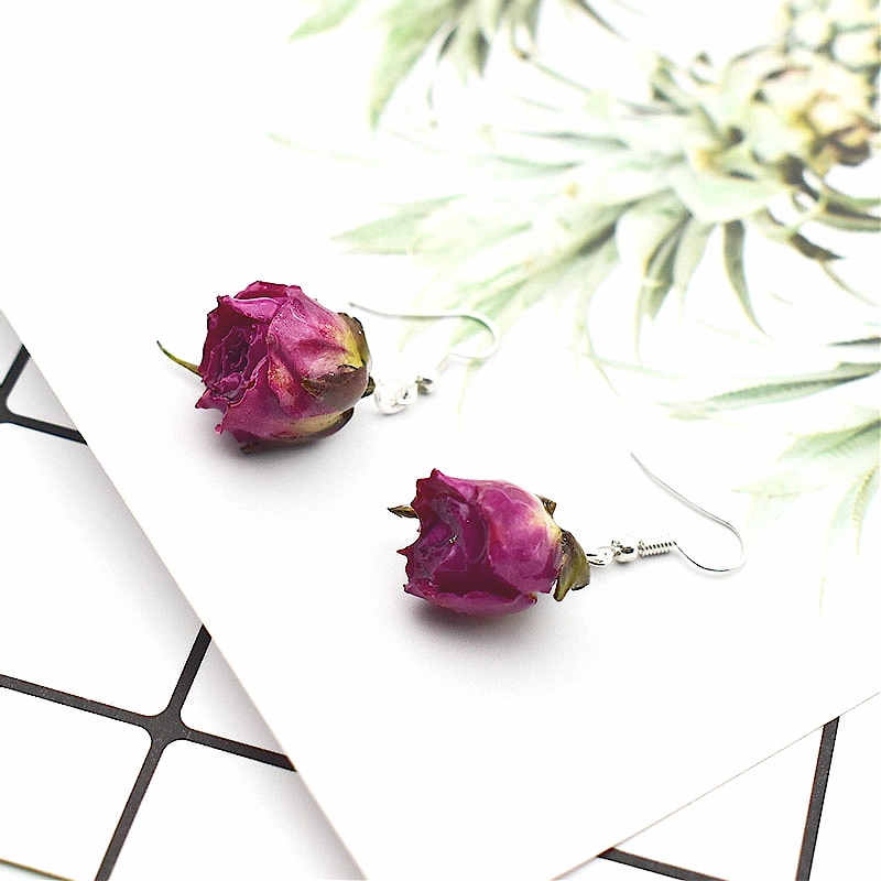 1Pair Natural Dried Flower Earrings Romantic Deep Purple Rose Petal Drop Earring Party Jewelry Gift For Women
