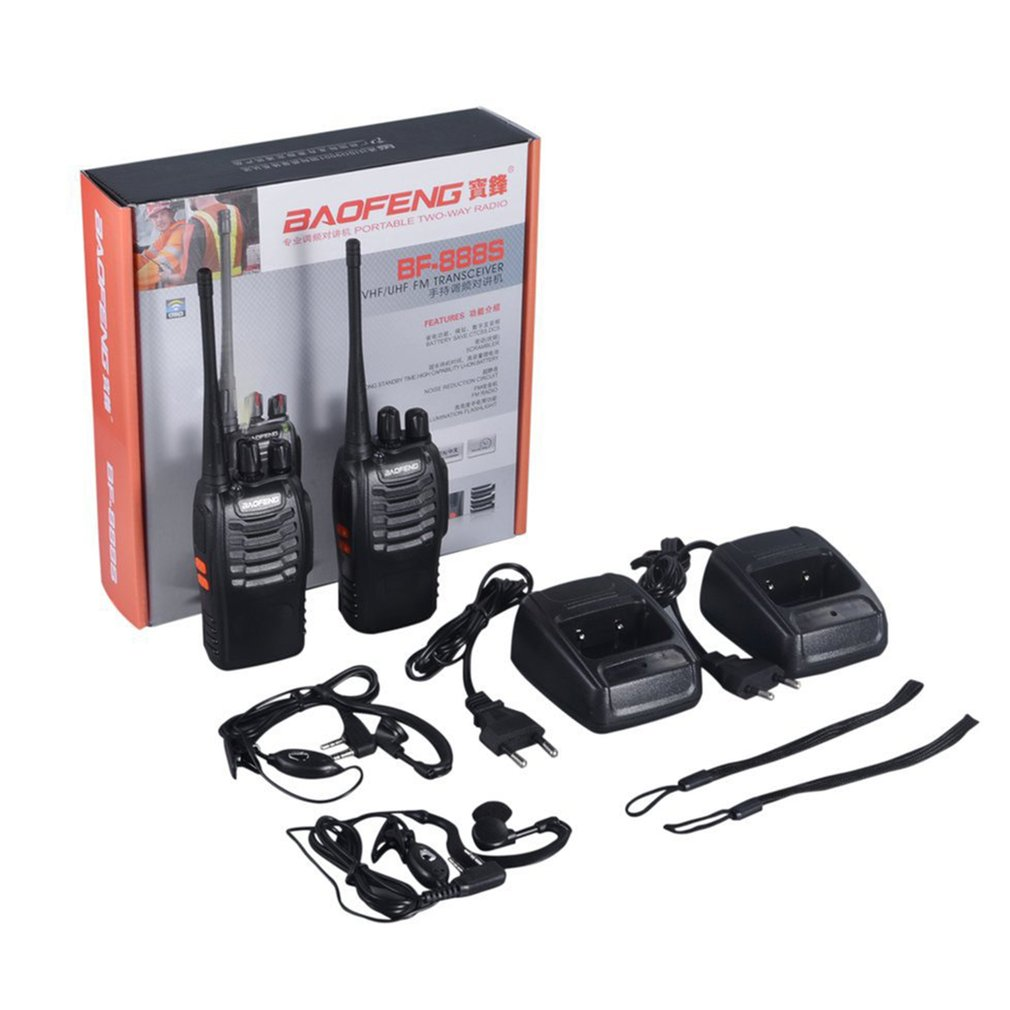 2pcs Baofeng BF-888S Walkie-talkie Flashlight 5W 16Ch With Headset 2-way Radio Portable Transceiver With Earpiece