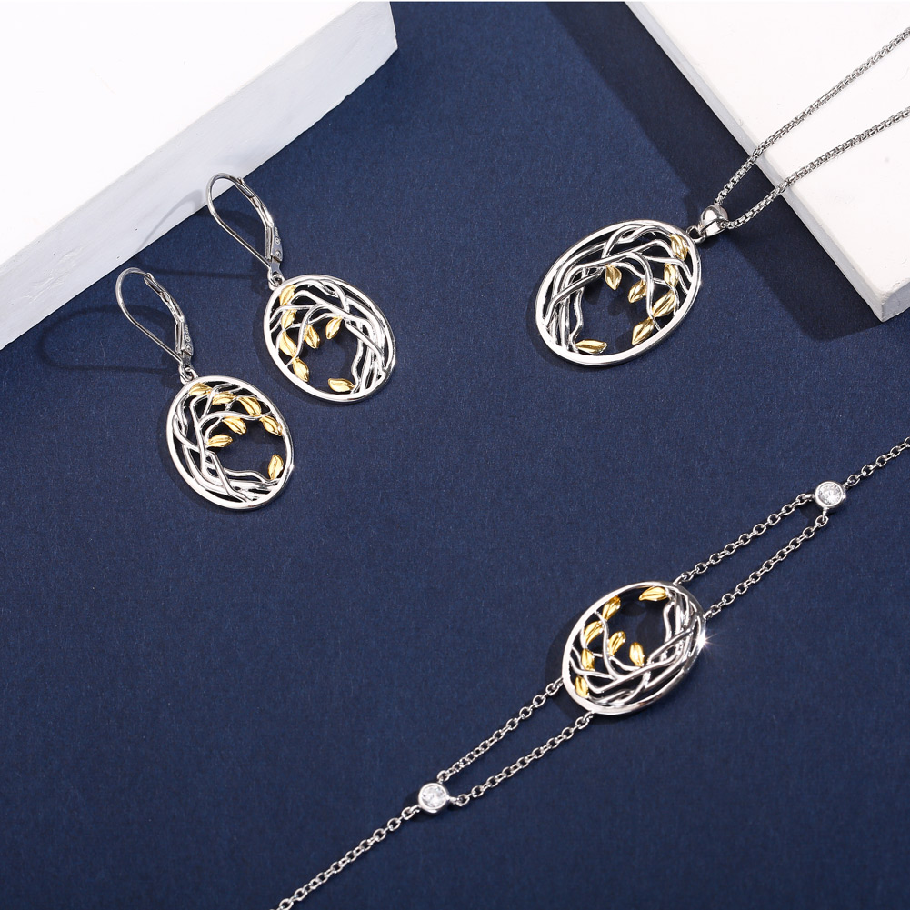 SA SILVERAGE Gold Color Silver Long Chain Necklace Chokers Jewelry 925 Sterling Silver Tree Of Life Pendant Necklaces Women