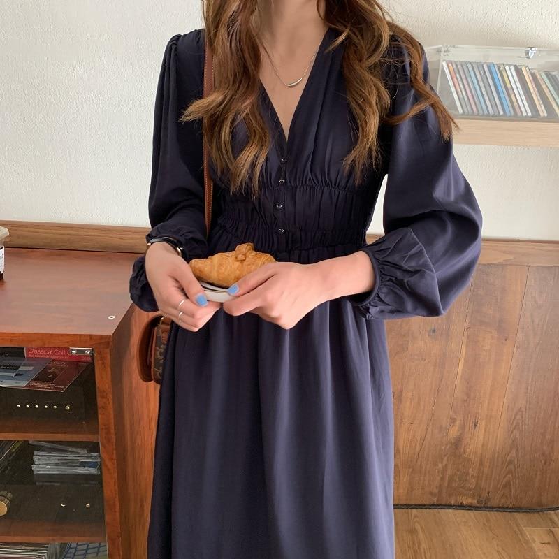 Hda84ecd287e440379e4d68cacdc30f76O - Autumn V-neck Long Sleeves Pleated Waist-Controlled Solid Loose Dress