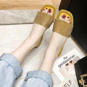 Image 2 - SHOFORT נשים נעלי אופנה נעליים מגניבים קיץ חיצוני נעלי מזדמנים נעלי בית נעלי בית תחתון החלקה ריינסטון בלינג