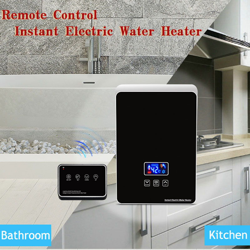 Ecofresh Mini Kitchen Use Remote Control Instant Electric Tankless Hot Shower Water Heater For Bathroom Shower