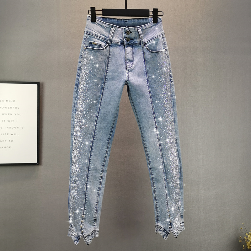Thin Jeans Women 2020 Summer New European Style Elastic Slim Irregular Denim Pants Hot Drilling Pencil Pants Lady's Jean Jeans