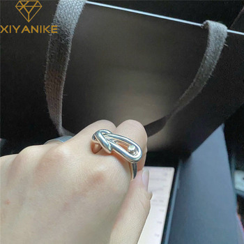 XIYANIKE 925 Sterling Silver New Arrival Korean Style INS Simple Hollow Knotted Thick  Rings Unique Design Cool Кольцо Neutral