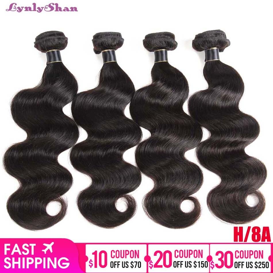Lynlyshan Human Hair Brazilian Body Wave Bundles Remy Human Hair Extension 1/3/4 Piece Natural Colour 8-30 Inch Free Shipping