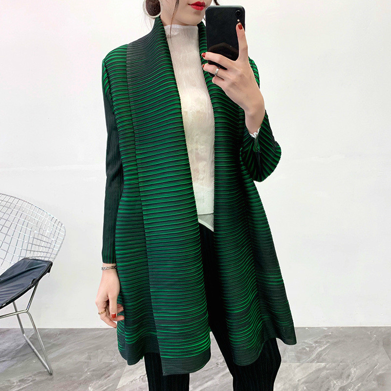 LANMREM Solid Color Scarf Collar Mid-length Cardigan Women 2020 New Spring Korean Loose Pleated Coat With Belt High Quality PC78