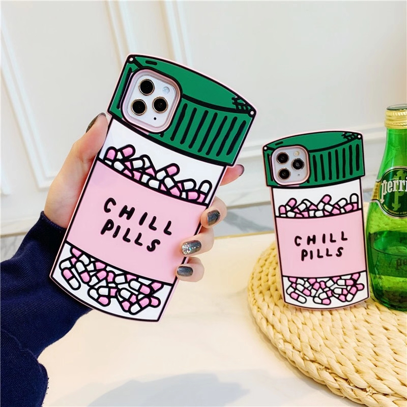 3D Dimensional Pill Bottle Soft Silicone Phone Case For Iphone 12 Mini 12 Pro X XR XS MAX 8 8 Plus 11 Pro Max 12 Pro Back Cover