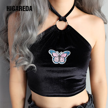 Halter Tube Top Sexy Printed Tank Tops Strapless Bandeau Bra Summer Crop Black Cute Off Shoulder Women Clubwear Party halter printed fringed crop top for women