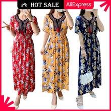 Wayoflove floral praia vestido feminino 2021 casual vintage plus size vestidos longos verão borla formatura cintura alta o pescoço vestido de moda