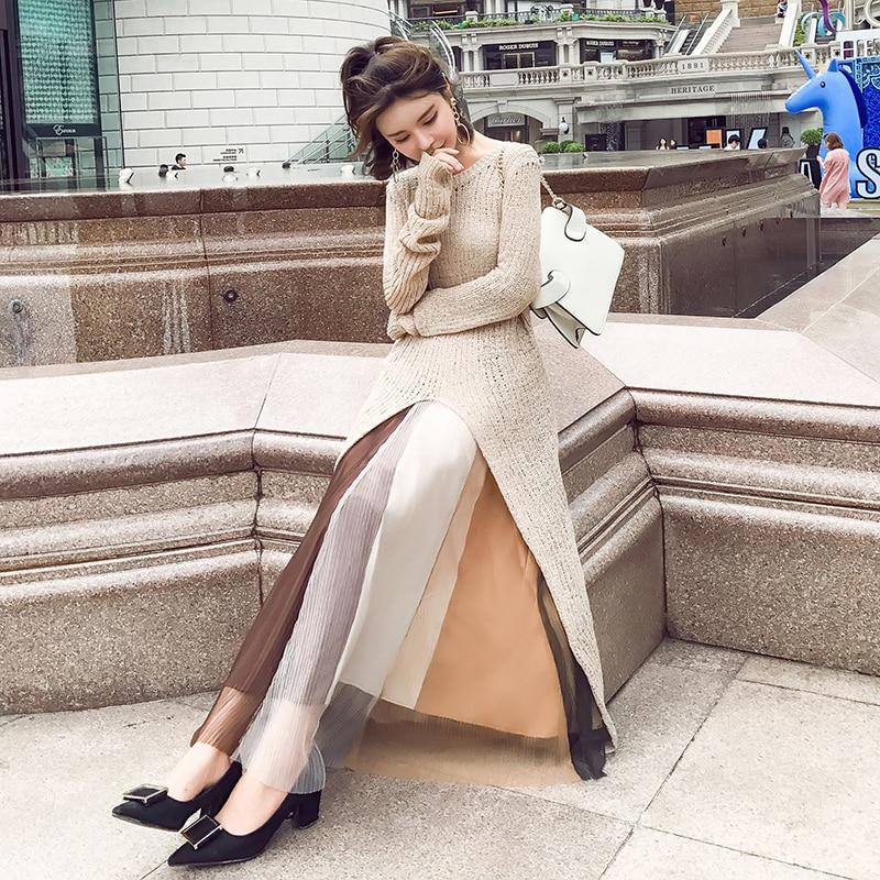 New Autumn 2020 Korean Chic Two Piece Set Women Long Sleeve Knittd Sweater Dress Female Long Skirt Women Suits Outwear