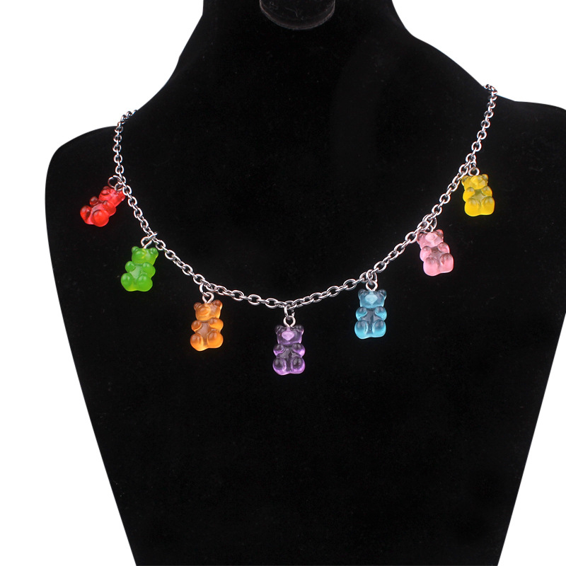 Handmade 7 colors cute judy cartoon bear stainless steel necklace candy color pendant for women daily jewelry gift image