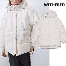 Увядшая Зимняя парка, пальто для женщин, английский стиль, Ретро стиль, большие размеры, две упаковки, толстая, с капюшоном, одноцветная, короткое пальто, женская парка, пальто, топы
