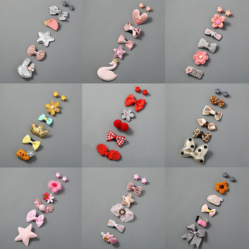 5Pcs/Set Cute Baby Hair Clips Glitter Crown Strip Bow Barrettes Fabric Princess Hairpins Newborn Infant Accessories - discount item  30% OFF Kids Accessories