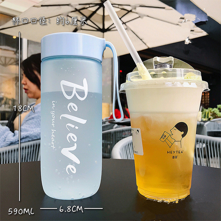 Hda85550e7e9f4598861a4441f0ad7ee3C 590ML Portable Sport Camping Cycling Travel Plastic Juice Water Bottle Fashion Large Capacity Bottles Heat Resistant Bottle