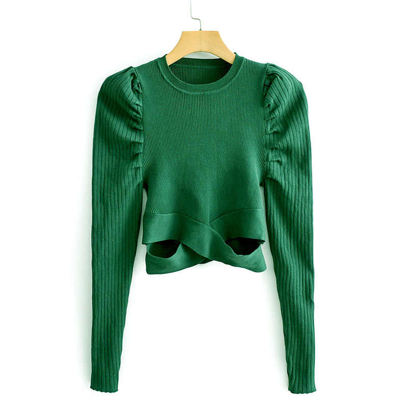 ZOEPO O Neck Fold Sweaters Women Fashion Solid Green Asymmetrical Sweater Women Elegant Puff Sleeve Sweaters Female Ladies JAE