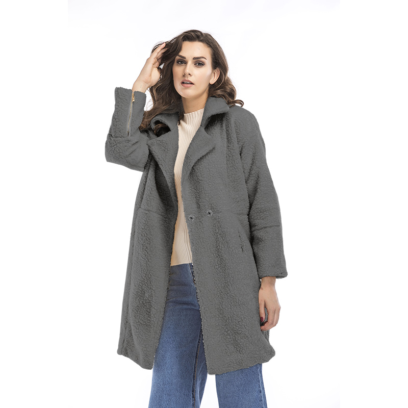 2019 autumn and winter new women's cotton jacket cashmere long-sleeved solid color long coat wool coat 15