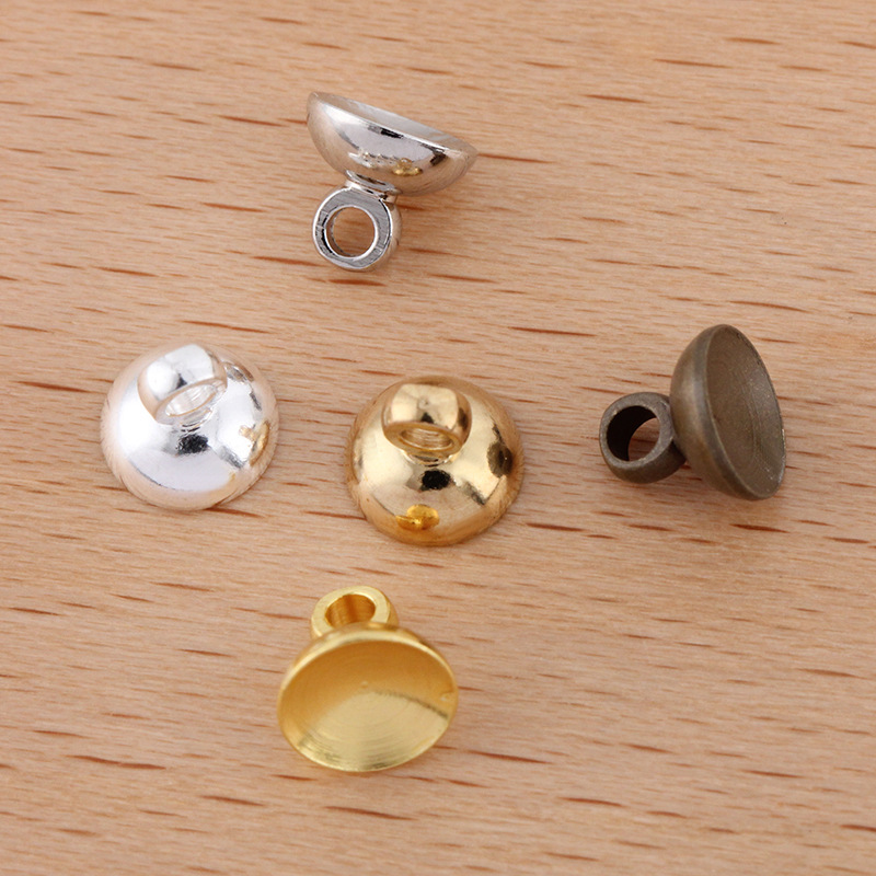 50 Pcs Bail Connectors Pendant Beads Cap Silver Gold Accessories For Jewelry