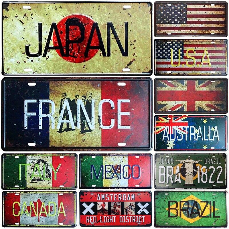 Японский флаг США Мексики, Италия, Франция, номерной знак для автомобиля, металлическая жестяная вывеска, бар, кафе, домашний декор, картина ...