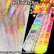 12 цветов украшения для ногтей флуоресцентная Бабочка Смешанные