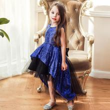 Girls Sleeveless Mesh Trailing Children Princess Dress Fower Girl Wedding Dress Bow Show Dresses new pattern girl princess foreign trade sleeping princess show serve thick dress mesh