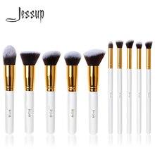 ジェサップブラシプロ 10pcs 歌舞伎白/金の化粧ブラシセット美容基礎化粧品メイクアップツール人工毛