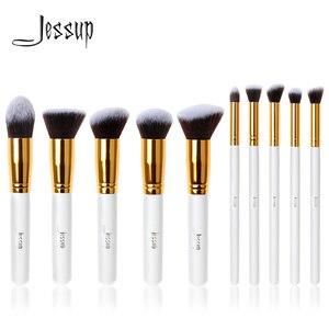 Image 1 - Jessup Brush Professional 10pcs Kabuki White/Gold Makeup Brushes Set Beauty Foundation Cosmetics Make up tools Synthetic Hair