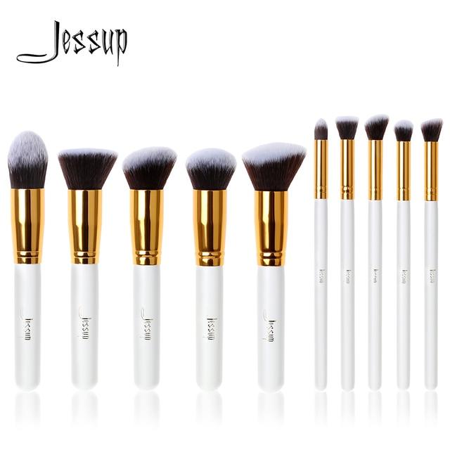 Jessup Brush Professional 10pcs Kabuki White/Gold Makeup Brushes Set Beauty Foundation Cosmetics Make up tools Synthetic Hair