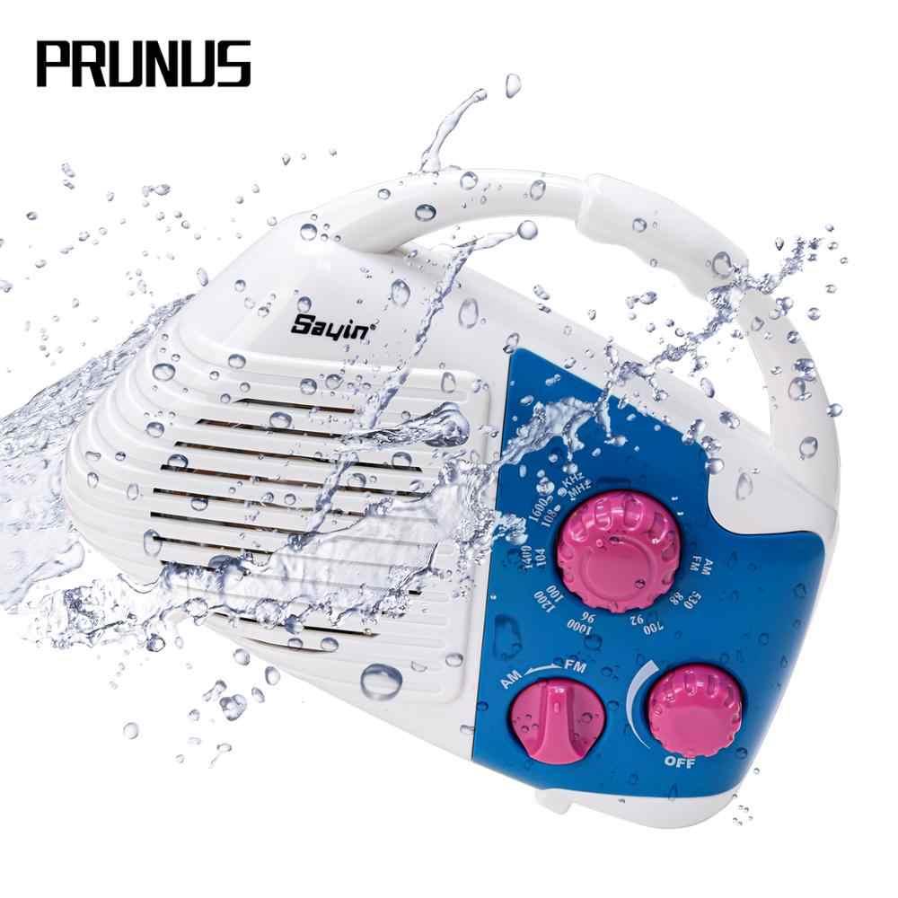 サクラ J-282 シャワーラジオ IPX4 防水ポータブル AM Fm ラジオプレーヤートップハンドル、ラジオスピーカー浴室用