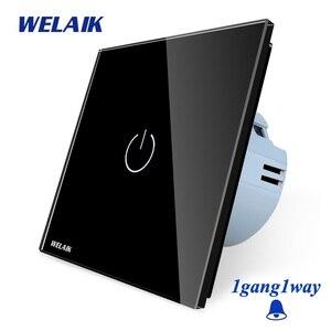 Image 3 - Welaik хрусталя панели переключателя белый настенный выключатель ЕС дверной звонок сенсорный выключатель света 1Gang1Way AC110 ~ 250 В a1911MLCW/b