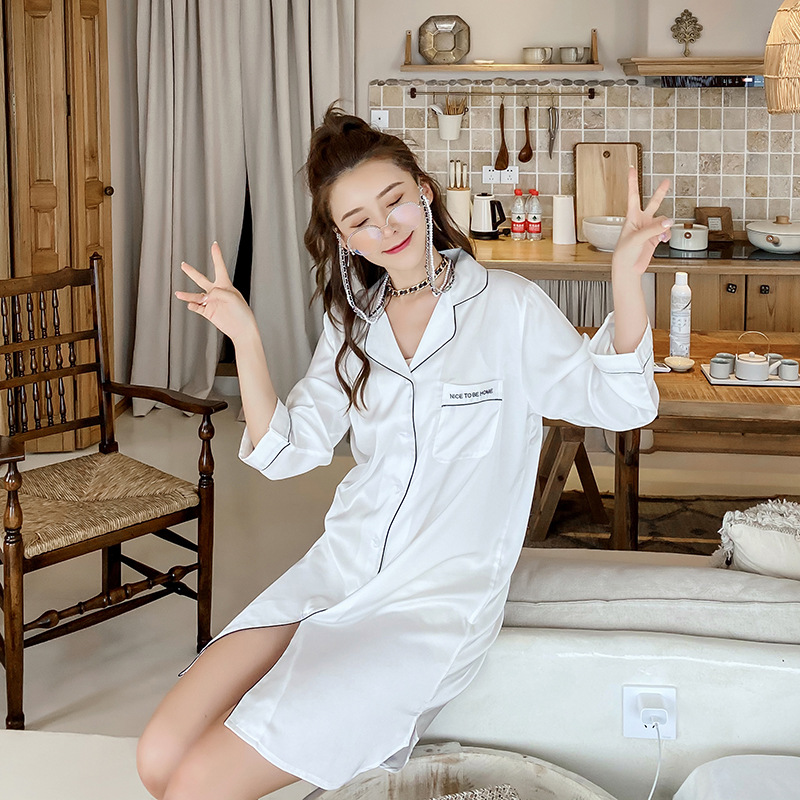 Women Nightgown Summer Ice Silk <font><b>Sexy</b></font> Thin White Shirt Nightdress Satin Silk Explosion Models Can Wear Outside <font><b>Camison</b></font> <font><b>Sexy</b></font> <font><b>Mujer</b></font> image