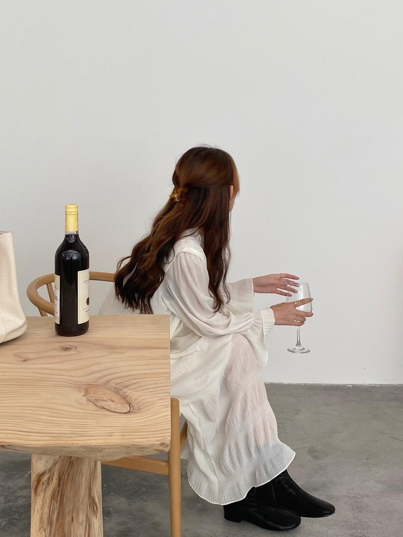 Hda85e026c54e467293fb5819eb8baa499 - Autumn Korean O-Neck Flare Long Sleeves Chiffon Pleated Midi Dress
