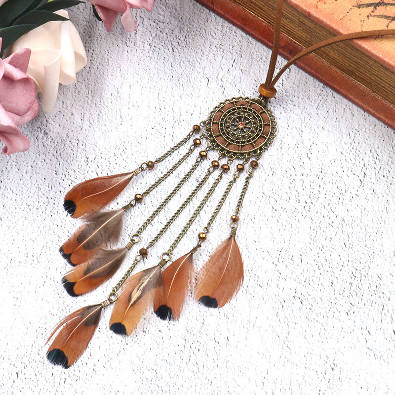 Hda85e6ab2ef74e9ebfc494f0a0324d06z - Women Bohemian Ethnic Long Chain Feather Pendant Dreamcatcher Necklace Choker Boho Clothing Jewelry Accessories