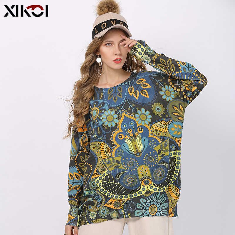 Xikoi 겨울 새로운 레트로 인쇄 스웨터 여성 풀오버 니트 o-넥 점퍼 여성 대형 따뜻한 스웨터 높은 탄성 당겨 femme