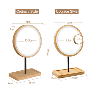 Image 2 - Wooden Desktop LED Makeup Mirror 3X Magnifying USB Charging Adjustable Bright Diffused Light Touch Screen Beauty Mirrors