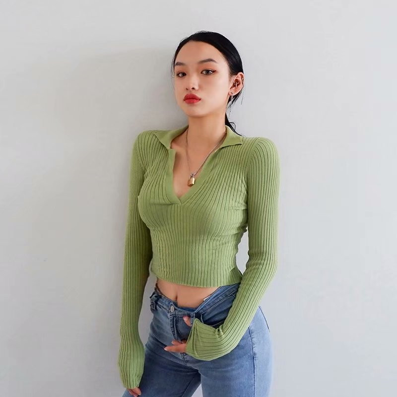 Autumn And Winter New Street Solid Color Tight Short-sleeved Sweater Women, Wild Stretch Thin V-neck Pullover Sweater Ladies