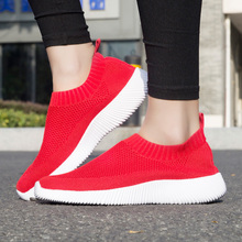 Sneakers Women Vulcanized-Shoes Walking Colorful Ladies Sock Slip-On Autumn Loafers Mesh